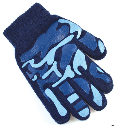 Boys Camoflague Gripper Gloves Navy