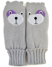 Load image into Gallery viewer, OCTAVE Girls Knitted Teddy Bear Face Mittens With Lurex