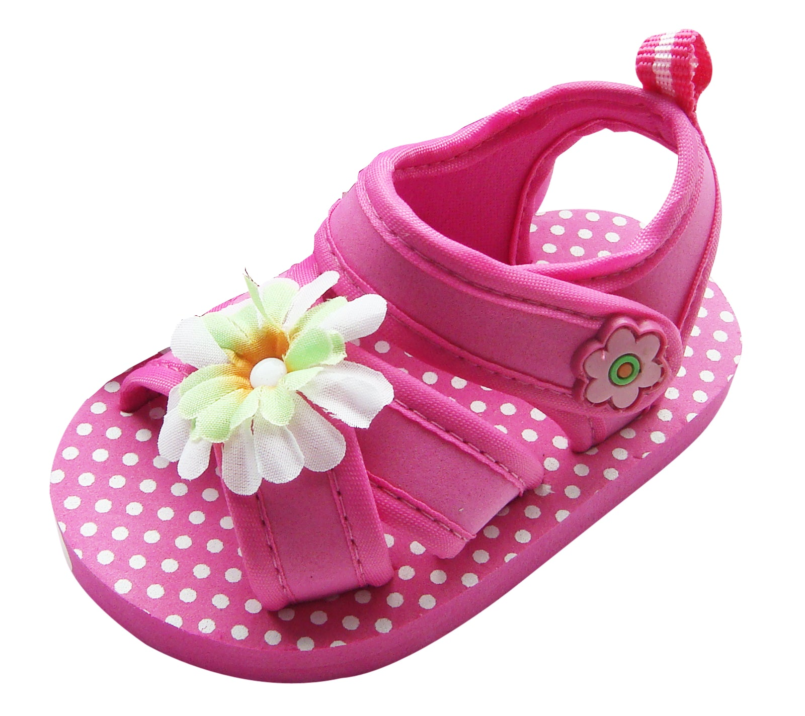 MABINI Baby Girls Flower Design With Polka Dot Footbed Summer Eva Sandals