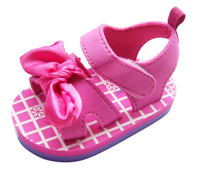 MABINI Baby Girls Pink or Purple Summer Eva Sandals With Contrast Bow