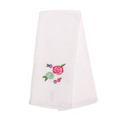 OCTAVE White Waffle Quality Kitchen Tea Towels With Embroidery Designs - Pack of 4