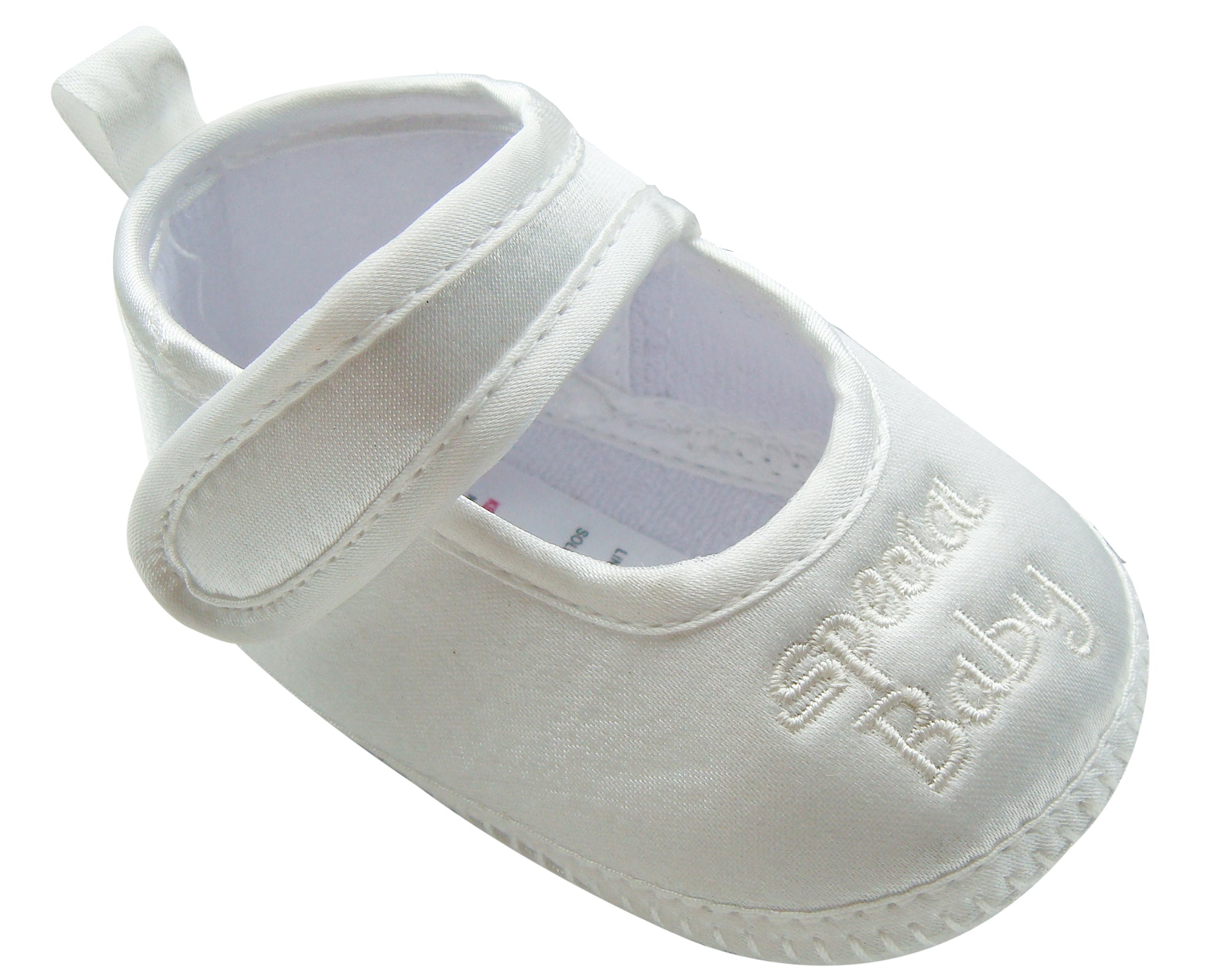 "MABINI Baby Satin Christening / Special Occasion Shoes With ""Special Baby"" Embroidery Detail On Front"