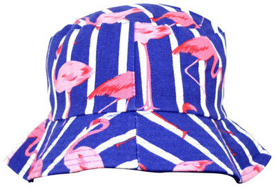 OCTAVE Reversible Bucket Hat - Blue Flamingo Print / Blue