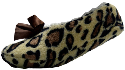 Octave Womens Soft and Cosy Sherpa Animal Printed Ballerina Slipper Socks