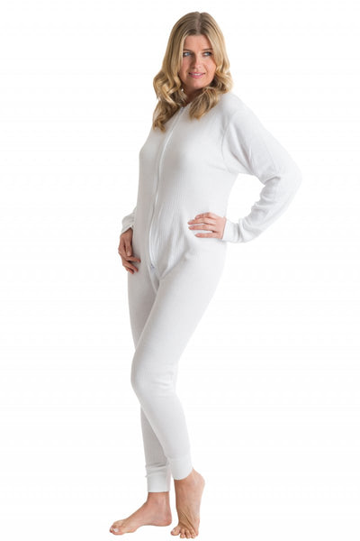 OCTAVE Womens Thermal Underwear All In One Union Suit / Thermal Body Suit - White