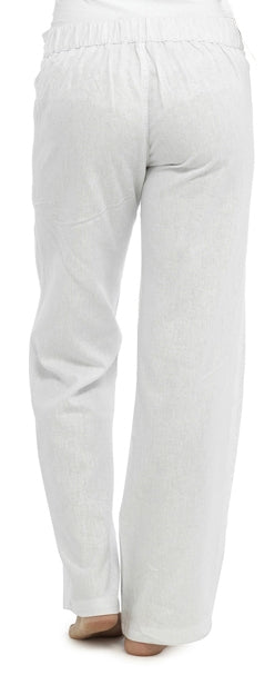 OCTAVE Ladies Linen Trousers - White (Back)