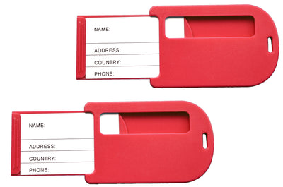 Red travel luggage tags
