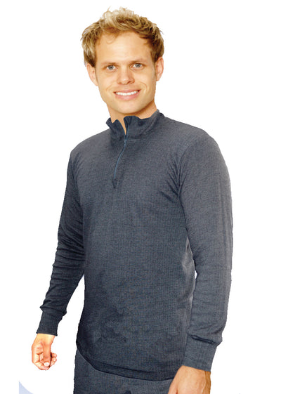 OCTAVE Mens Thermal Underwear Long Sleeve Zip Neck T-Shirt / Vest / Top