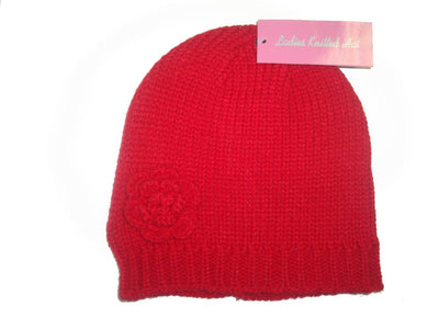 Red Ladies Beanie Knitted Hat