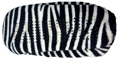 Octave Womens Soft and Cosy Sherpa Animal Printed Ballerina Slipper Socks-Zebra