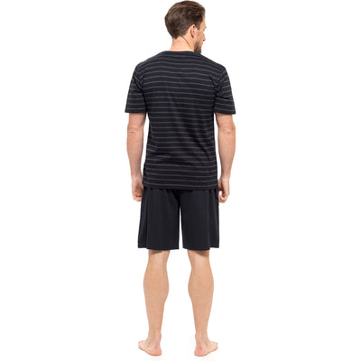 Black With Dark Grey Stripes T-Shirt & Black Shorts