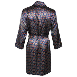 OCTAVE Mens Luxury Summer Printed Satin Kimono Wrap / Robe / Dressing Gown