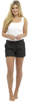 OCTAVE Ladies Linen Shortie Shorts Black