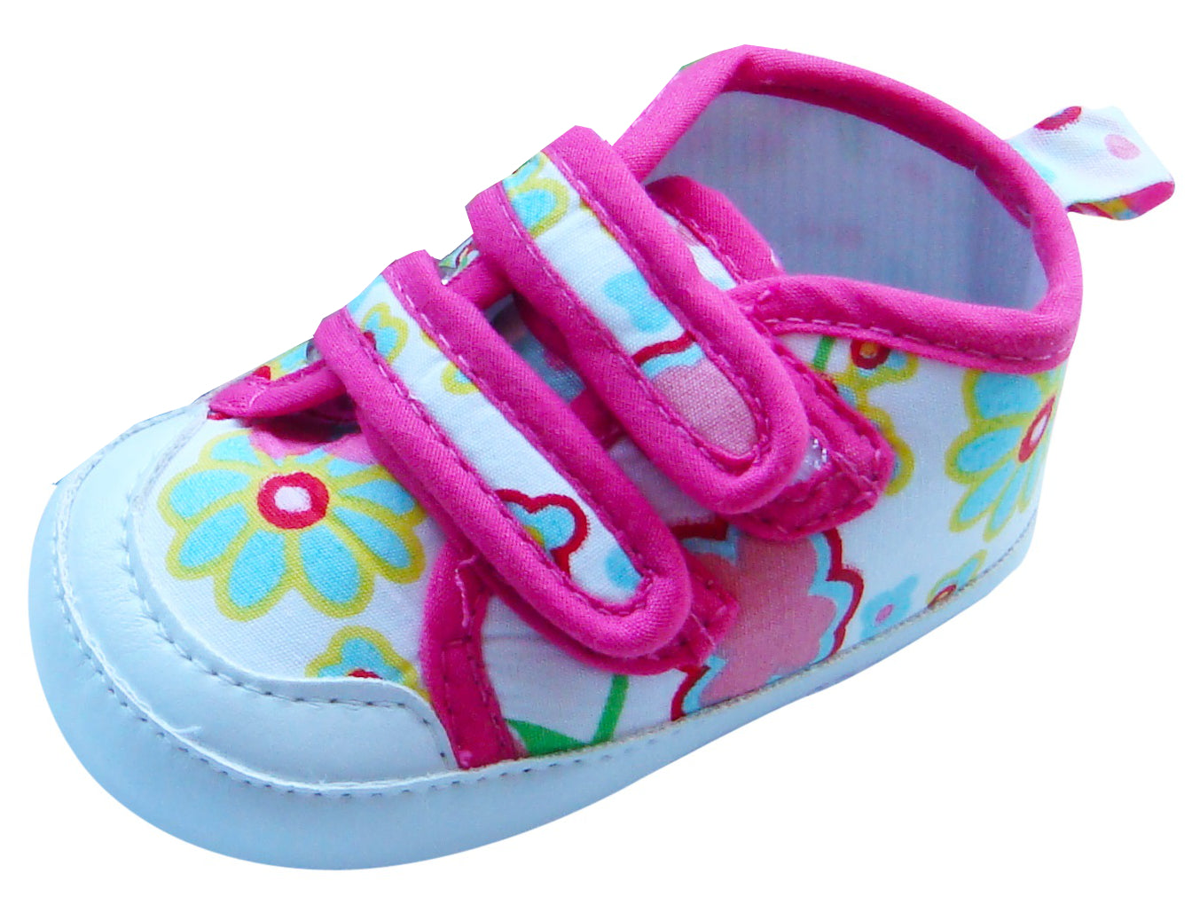 MABINI Baby Girls Shoes / Booties With Floral Design & Hook & Loop Fastener Straps