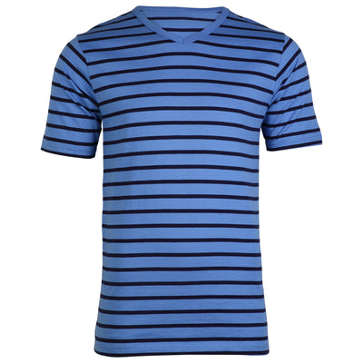 OCTAVE Mens Jersey Cotton V-Neck Striped T-Shirt & Shorts Summer Pyjama Set