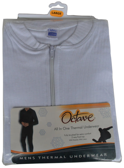 OCTAVE Mens Thermal Underwear All In One Union Suit white