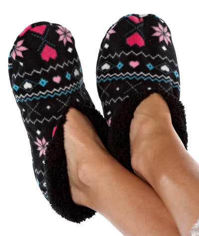 OCTAVE Ladies Black Micro Fleece Slippers
