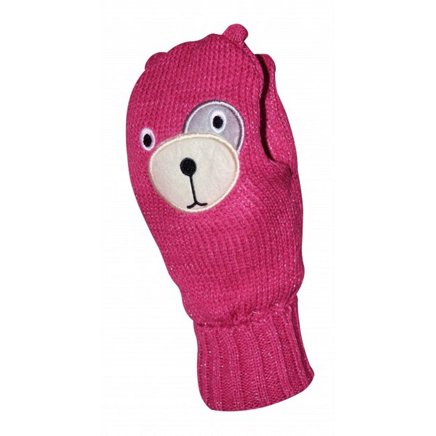 OCTAVE Girls Knitted Teddy Bear Face Mittens With Lurex