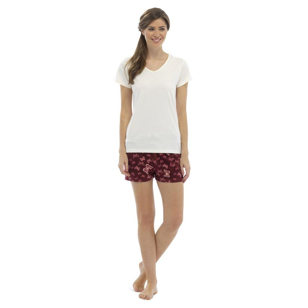 OCTAVE Ladies V Neck Jersey Short Sleeve Top & Butterfly Print Shorts Pyjama Set
