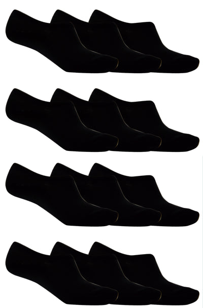 OCTAVE Unisex Plain Invisible Trainer Liner Socks - Various Pack Sizes Available [Size One Size (Approx) UK 4-11 EURO 37-46, Colour Black] - [INTERNAL REF: 42713-01 12 Packs No. 1803 Black Socks]