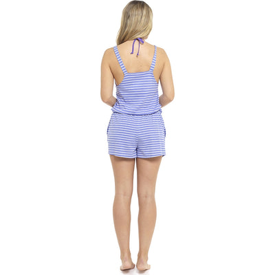 Playsuit Summer Beach Wear blue striped back