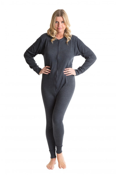 OCTAVE Womens Thermal Underwear All In One Union Suit / Thermal Body Suit - Charcoal