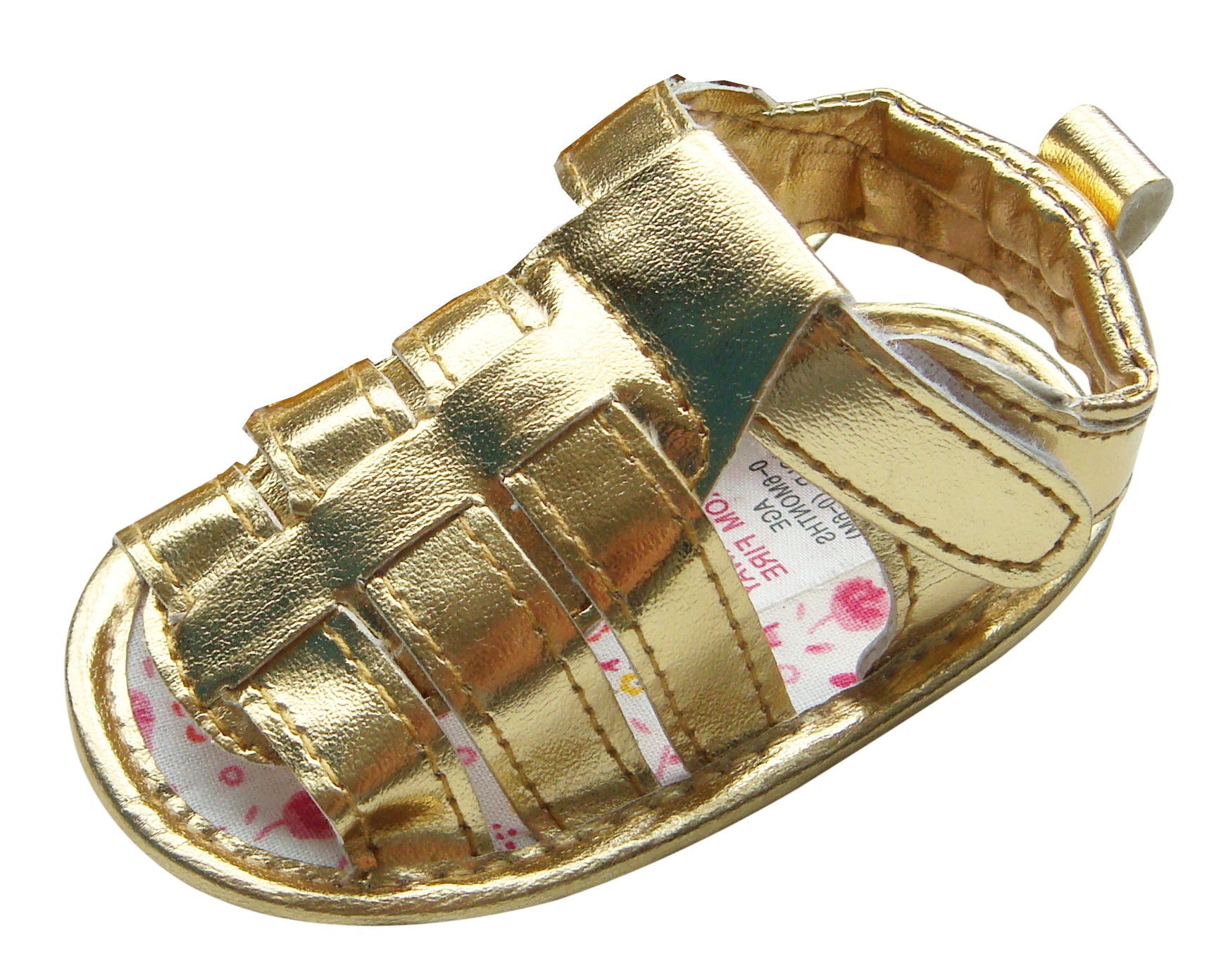 MABINI Baby Girls Gold or Silver Gladiator Sandals With Hook & Loop Fastener