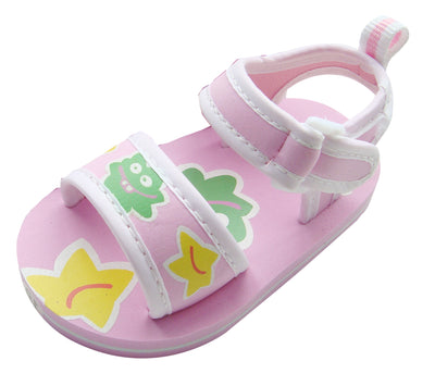 MABINI Bright Smiley Blob Face Summer Baby Eva Sandals With Hook & Loop Fastener