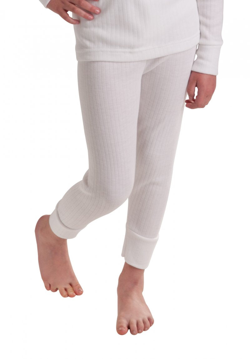 Girls thermal underwear long pants white