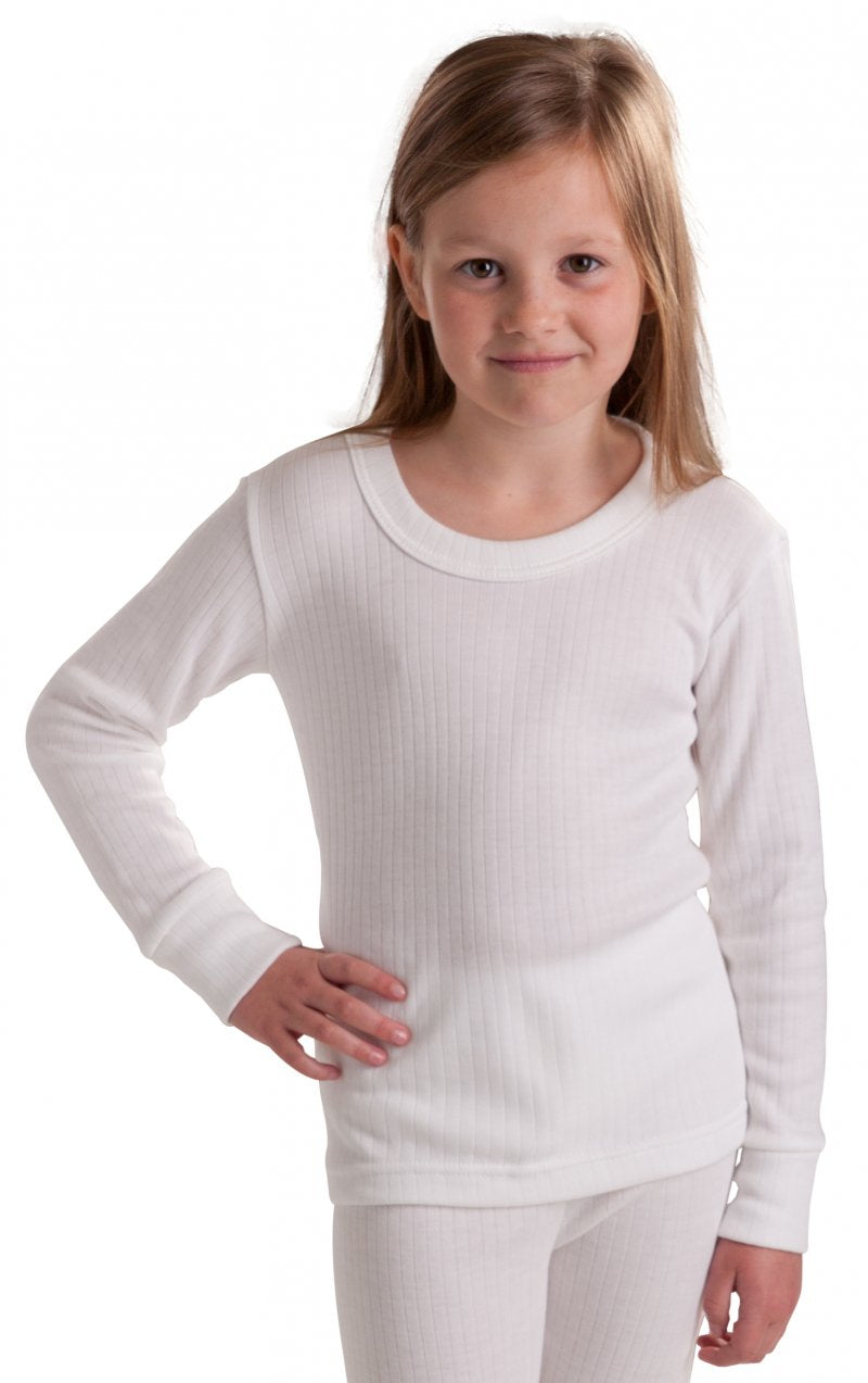 Girls Thermal Underwear Long Sleeve Top white