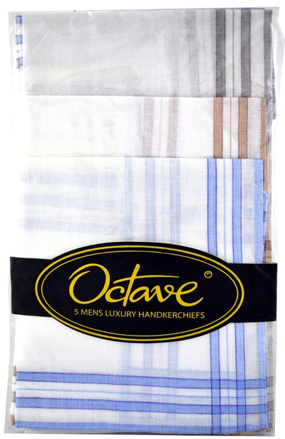 OCTAVE Mens White Poly Cotton Handkerchiefs With Printed Colour Border -  5 Pack