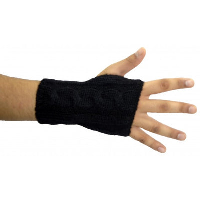Octave® Unisex Mens Ladies Knitted Fingerless Hand Wrist Warmers With Thumb Hole