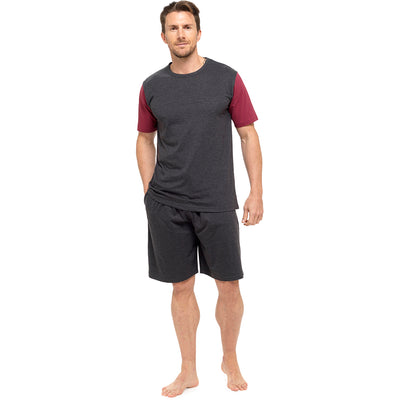 OCTAVE Mens Cotton Two Tone T-Shirt & Shorts Summer Pyjama Lounge Set