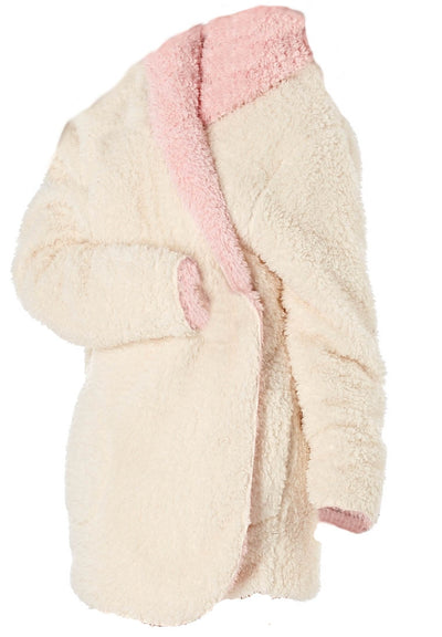Octave Ladies Soft Sherpa Fleece Snuggle Reversible Hooded Robe/Dressing Gown