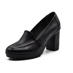 high heels shoes/ genuine leather 100 %/ black -6911