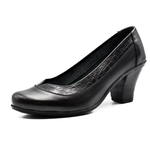 high heels shoes/ genuine leather 100 %/ black -6918