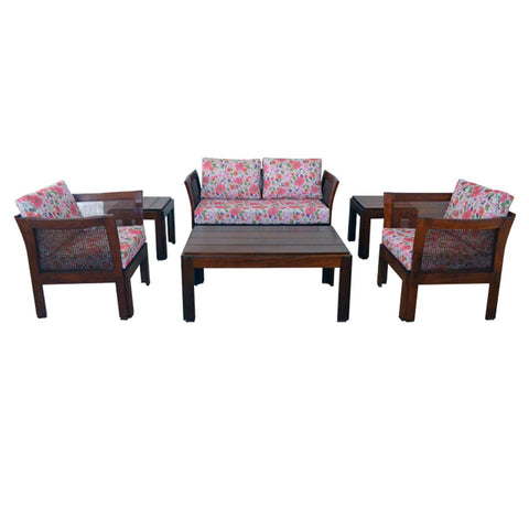 teak wood exterior setting upholstered with exterior fabric -1329