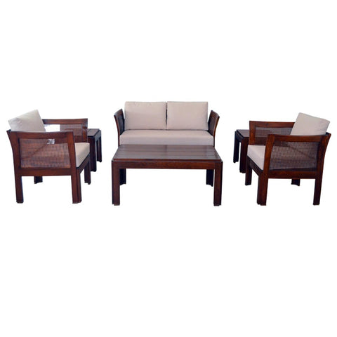 teak wood exterior setting upholstered with exterior fabric -1330