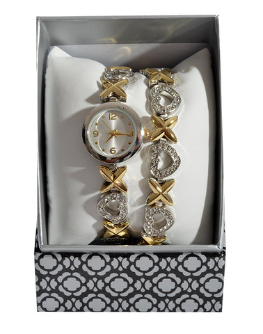Gold and silver Bracelet and Watch Set -1374