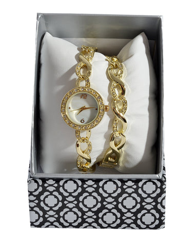 Gold bracelet and watch set -1375