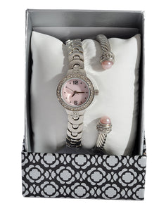 silver bracelet and watch set -1377
