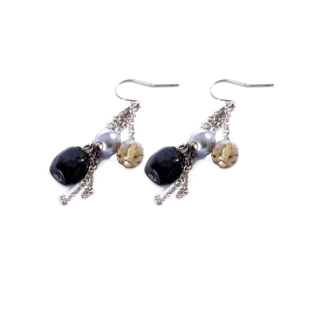 Earrings color silver & Black -778