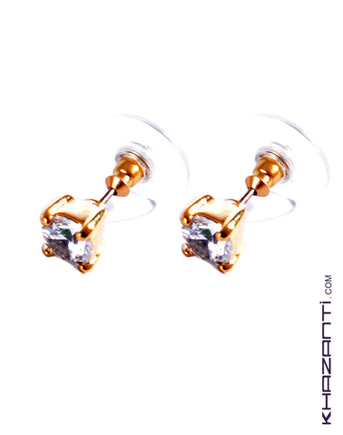 Earrings color gold encrusted with white zircon stone -23