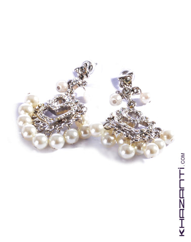 Earrings color silver encrusted with white zircon stones and white pearls  -22