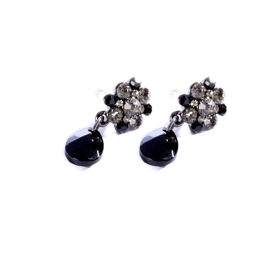 Earrings color silver & Black -757