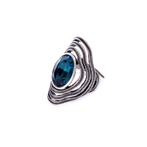 Silver colored ring encrusted with navy Zircon stone -1288