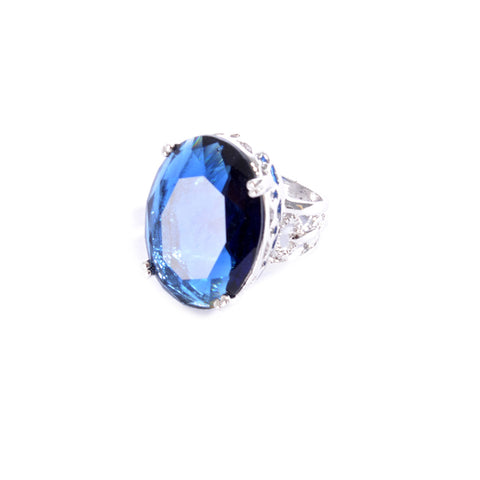 Silver colored ring encrusted with navy stone and small Zircon stones -1295
