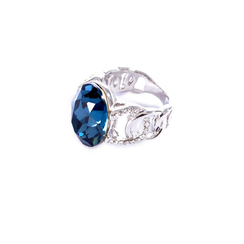 Silver colored ring encrusted with navy stone and small Zircon stones -1291
