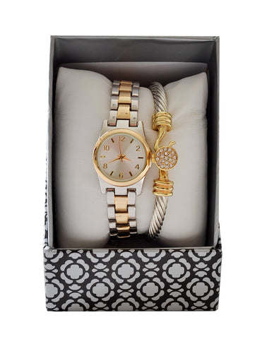 Gold and silver Bracelet and Watch Set -1483