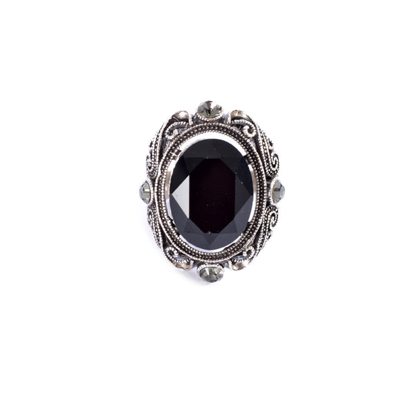 Silver colored ring encrusted with black stone and Zircon stones -1289